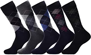 Mens Dress Socks 5 Pack Cotton Argyle Dress Socks Assorted Colors -5 Pair