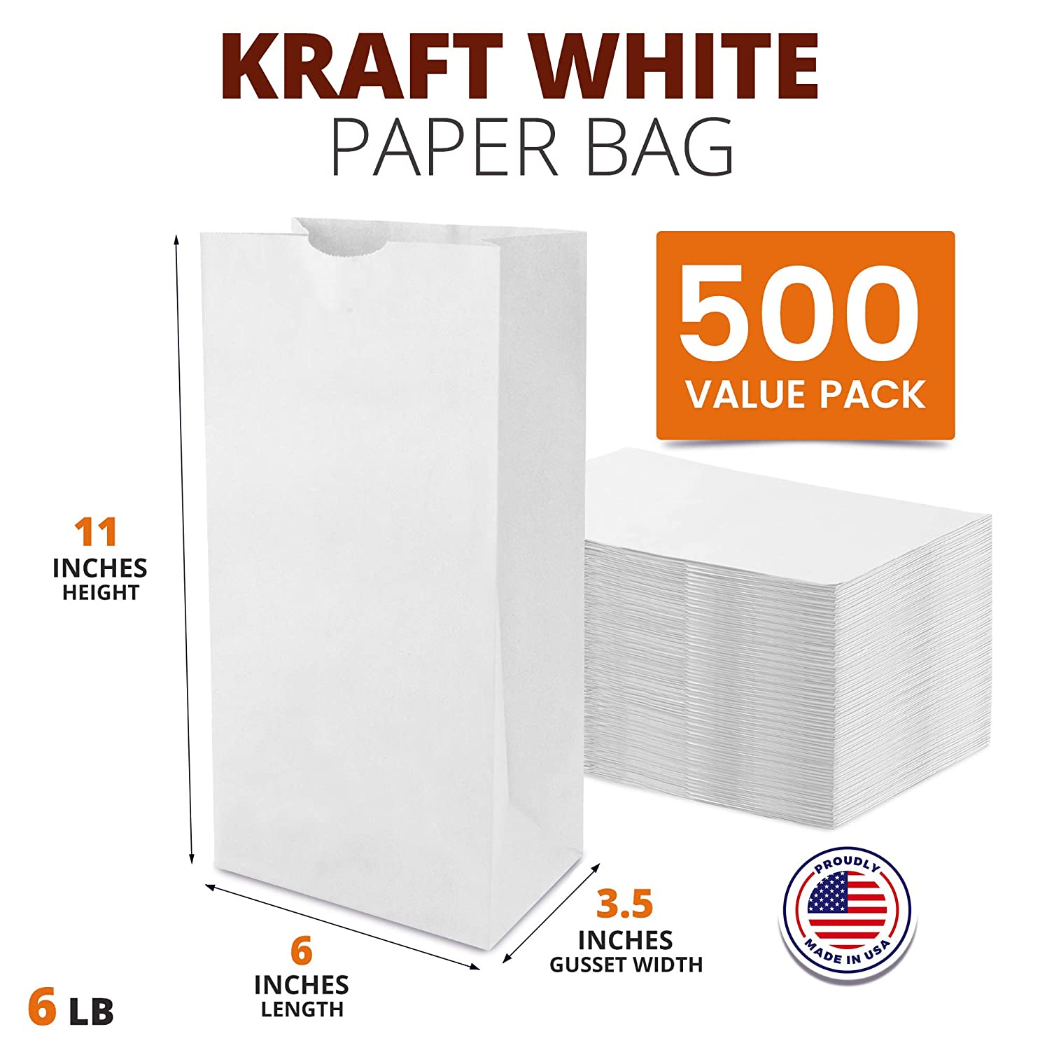 6 LB 11 x 6 x 3.5 White Paper Bags Grocery Lunch Retail Shopping Durable Bleached Barrel Sack 500 Pack
