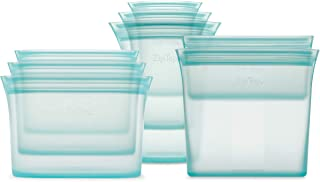 Zip Top Reusable 100% Platinum Silicone Containers - Full Set of 8 - Teal