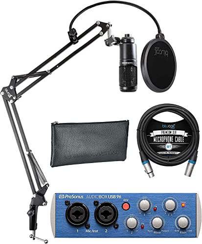 high quality Audio Technica AT2020 Cardioid Condenser Microphone Bundle with PreSonus AudioBox USB 96 2x2 USB Audio Interface with Studio One Artist, Blucoil Boom high quality Arm Plus Pop Filter, online and 10-FT Balanced XLR Cable online