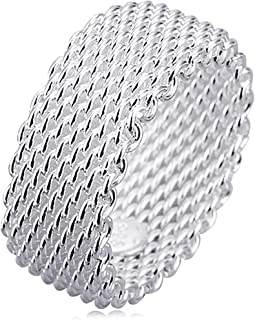 Jewelry Womens 925 Sterling Silver Plated Fashion Wide Korean style Braided Mesh Ring Wedding Band