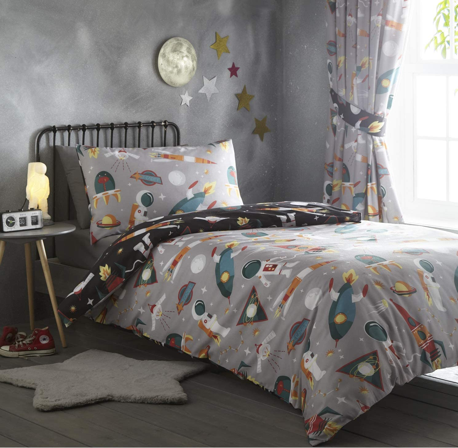 Portfolio Spaceman Duvet Cover Reversible Bedding Set Grey Single Amazon Co Uk Kitchen Home