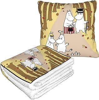 両用クッション ブランケット ムーミン ニョロニョロ フリースピローブランケット 2WAY ひざ掛け 毛布 クッション 抱き枕に折畳み お昼寝ケット 冷房対策 座布団 安眠枕 休憩枕 オフィス 人気 柔軟 お昼寝まくら ダブルジッパー付き トラベル