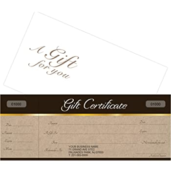 Amazon Com Custom Gift Certificates Cards With Envelopes 100 Set Sephia On Kraft Backgound Image Gift Coupons Vouchers For Holiday Christmas Spa Makeup Hair Beauty Salon Restaurant Small Business Office Products