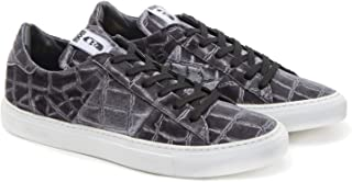 RKKR Shoes Sneaker Velvet Alligator Scarpe Uomo Casual Velluto Grigio Suola Gomma Bianca Stampa Coccodrillo
