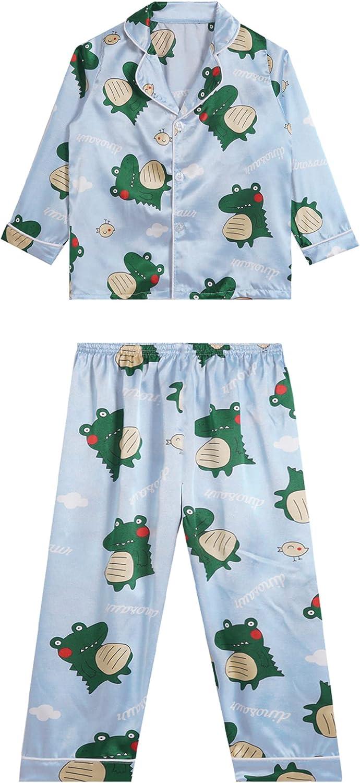 Jowowha Kids Boys Satin Long Sleeve Button Down Tops with Pants with Cartoon Pattern Print Casual Homewear Loungewear