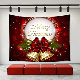 LBKT Christmas Day Tapestry Wall Hanging Happy New Year Custom Xmas Merry Christmas Bell..
