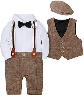 Amissz Baby Jungen Bekleidungssets 3tlg Strampler  Weste  Hut Fliege Krawatte Gentleman Set Baby Taufe Anzug