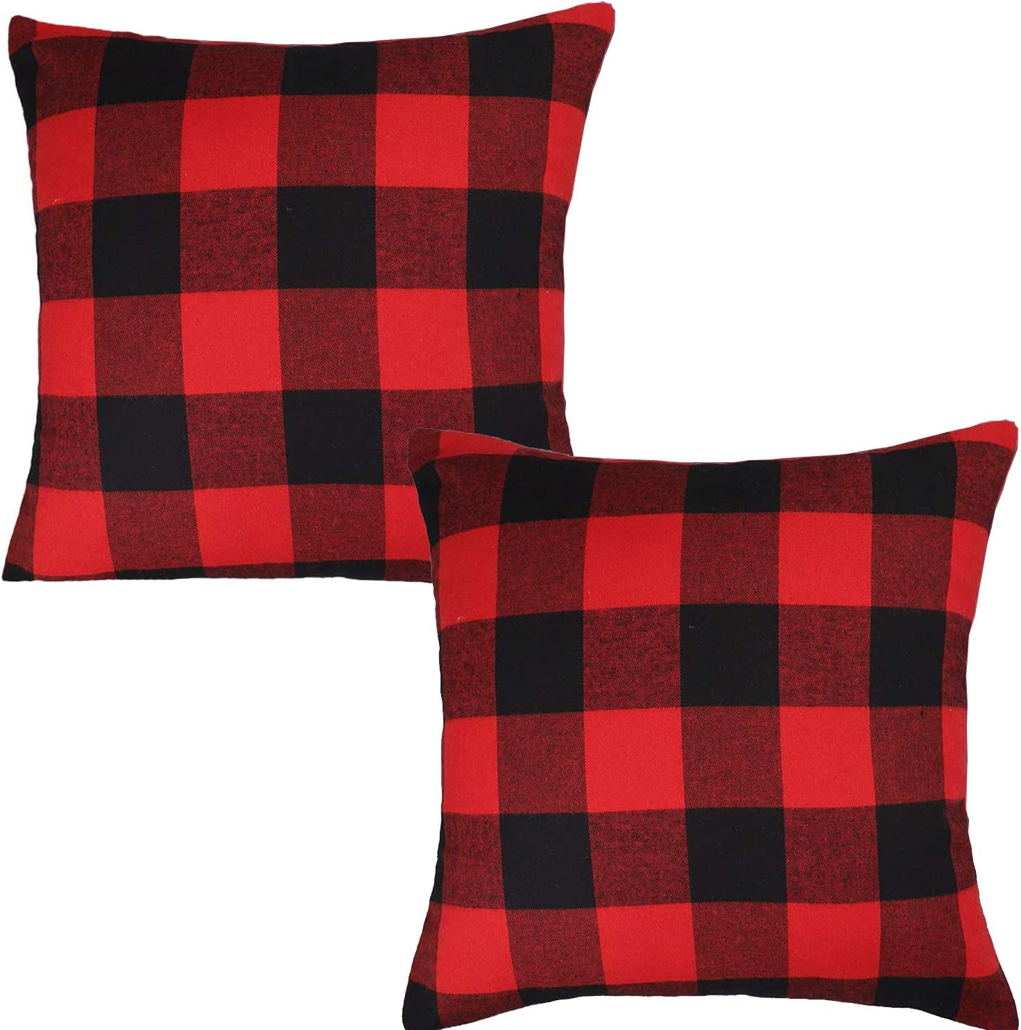 Jashem Plaid Throw Pillow Cover 18x18 Inch Cotton Cushion Cover Black and Red Buffalo Check Pillow Case for Modern Home Decor Set of 2 (Big Plaid red Black)