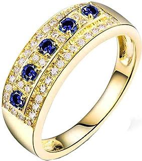ButiRest - Anello da donna in oro giallo 750 18 carati con 4 denti taglio rotondo 0,15 ct blu zaffiro VS e diamante 0,21 ct