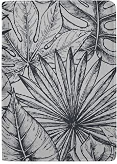 Hand Drawn Tropical Flowers Palm Leaves Jungle Plants Blocking Print Passport Holder Cover Case Travel Luggage Passport Wallet Card Holder Made with Leather for Men Women Kids Family