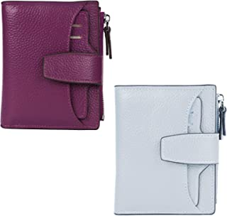 AINIMOER Women Leather Wallet RFID Blocking Small Bifold Zipper Pocket Wallet Card Case Grayish White and Dark Magenta Bundle