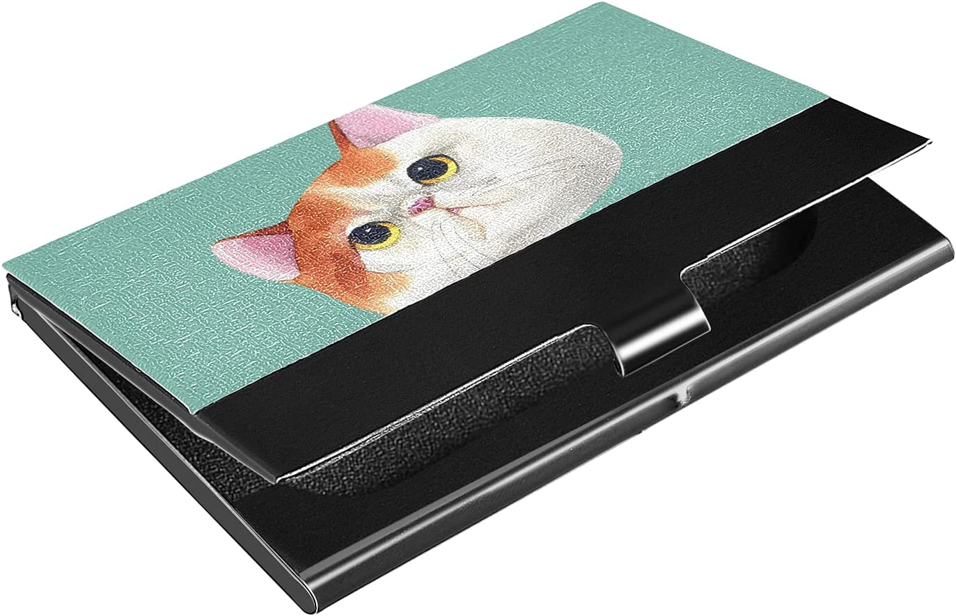 OTVEE Watercolor Cute Cat Business Card Holder Wallet Stainless Steel & Leather Pocket Business Card Case Organizer Slim Name Card ID Card Holders Credit Card Wallet Carrier Purse for Women Men