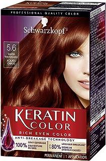 Schwarzkopf Keratin Color کرم رنگ دائمی مو ، 5.6 چوب ماهوگانی گرم (بسته بندی ممکن است متفاوت باشد)