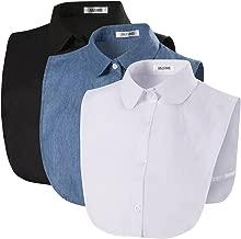 ANZERMIX Women's Peterpan Detachable Fake Collars Half Shirt Blouse Dickie Pack of 3