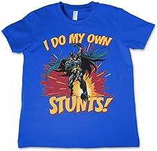 Batman T Shirt Dc Comics I Do My Own Stunts Logo Official Kids Blue 3-12Yrs