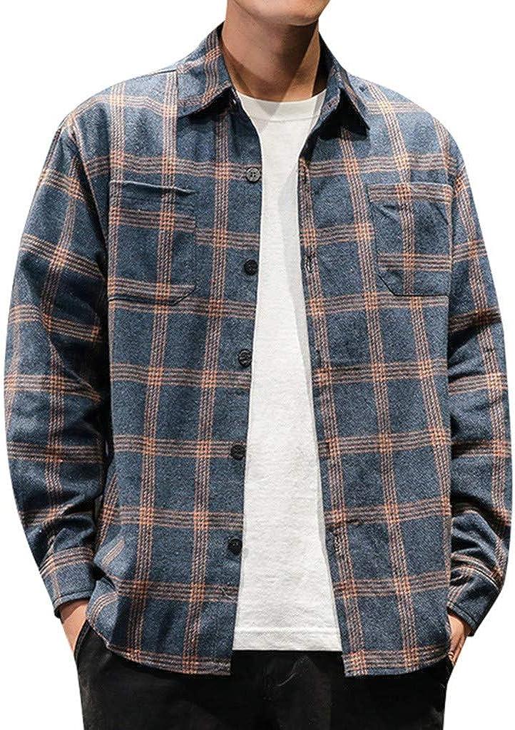 MODOQO Men's Button Down Shirt Business Casual Long Sleeve Comfortable Stripe Shirts