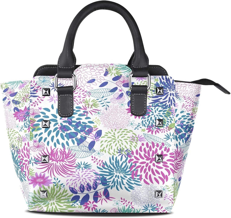 My Little Nest Women's Top Handle Satchel Handbag Abstract Plants Flowers Ladies PU Leather Shoulder Bag Crossbody Bag