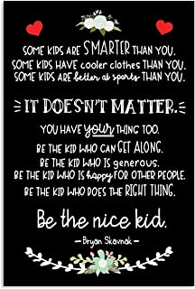 Be The Nice Kid Canvas - Kid's Room Canvas With Inspirational & Motivational Phrases - Wall Art Decor: Classroom, Bedroom, Playroom, Kid's Common Area - Kids Room Wall Art (11x14'')