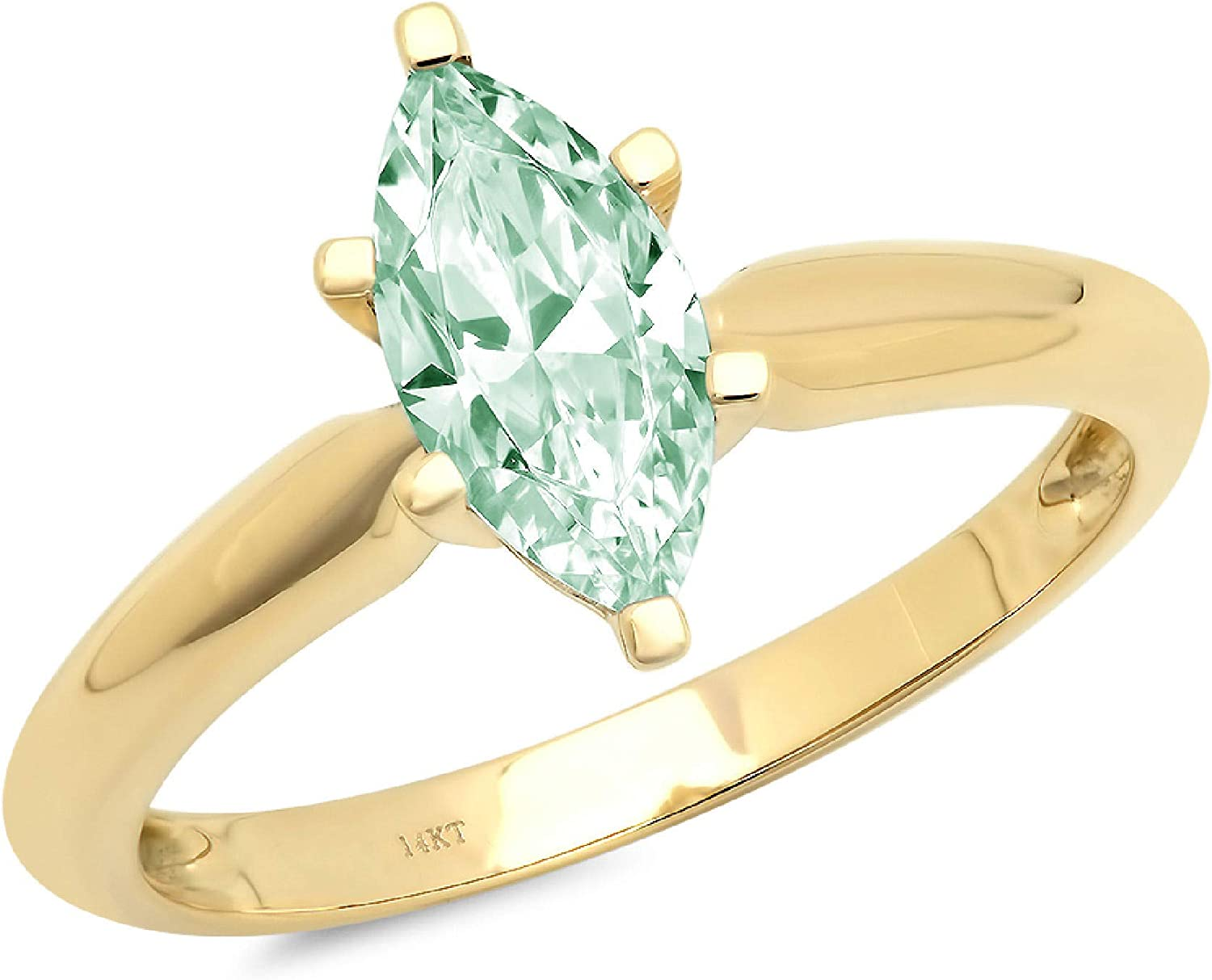 1.05 ct Brilliant Marquise Cut Solitaire Genuine VVS1 Blue Moissanite 6-Prong Stunning Classic Statement Designer Ring Solid 18K Yellow Gold for Women