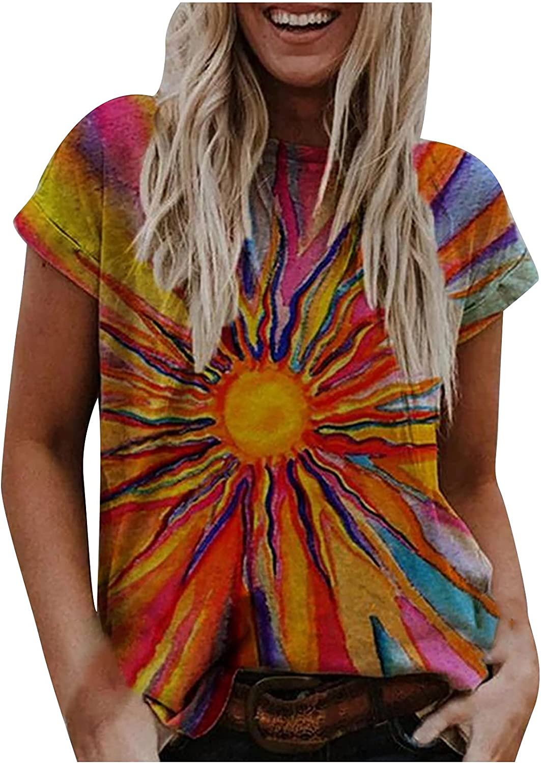 Womens Tops Max 87% OFF Printing T-Shirts Casual Shipping included Sleeve Short Tees Crewneck