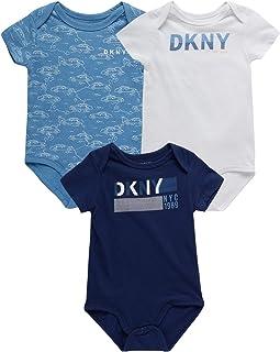 DKNY Baby Boys' Bodysuit - 3 Pack Cotton Short Sleeve Bodysuit (Newborn)