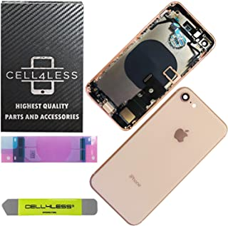 CELL4LESS Back Housing Complete Assembly Metal MidFrame w/Back Glass - Wireless Charging pad - Sim Card Tray and Camera Frame and Lens for iPhone 8 (Gold)