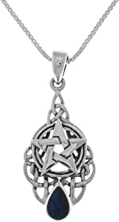 Sterling Silver Celtic Pentacle Star Pendant with Paua Shell on 18 Inch Chain Necklace
