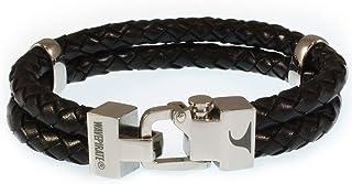 WAVEPIRATE Echt Leder-Armband Turn F Schwarz Herrenarmband Männer