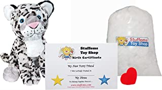 Teddy Mountain Make Your Own Stuffed Animal Mini 8 Inch Winter The Snow Leopard Kit - No Sewing Required!