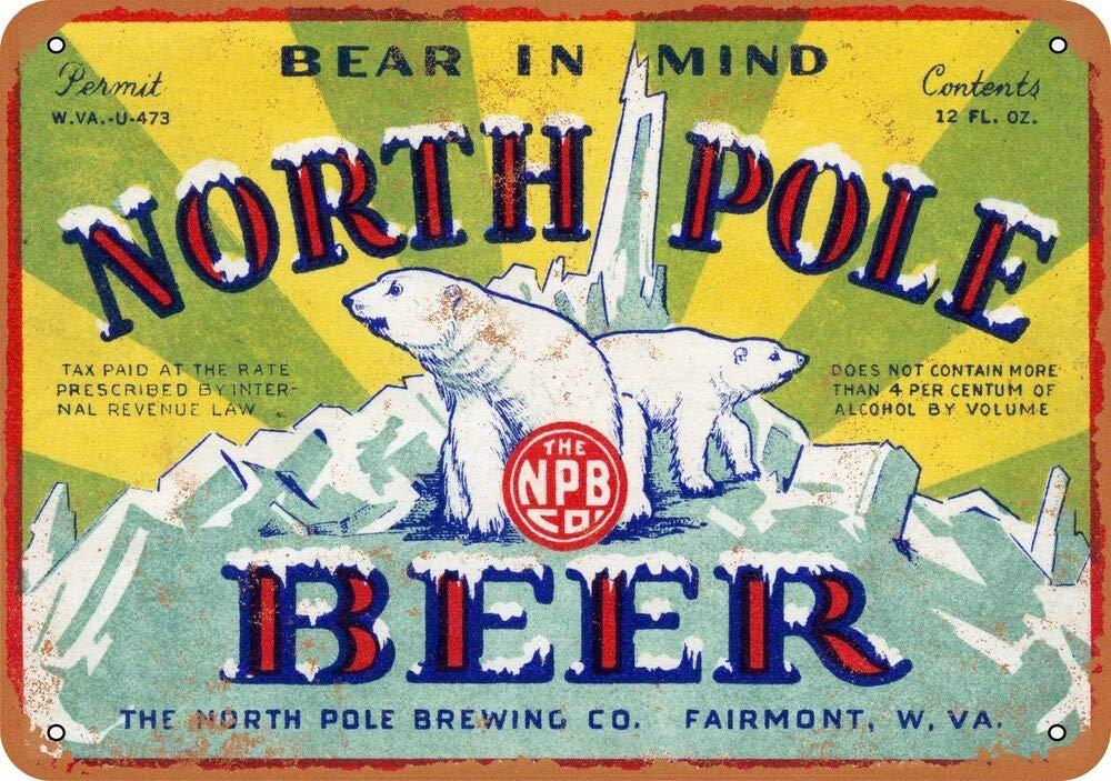 Yohoba 1934 Cartel de Metal con diseño de Cerveza de Polo Norte de ...