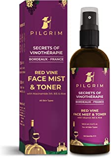 Pilgrim Alcohol Free Red Vine Face Toner, Face Mist Spray For Anti Ageing, Glowing Skin, Dry, Oily Skin, Men & Women,100ml