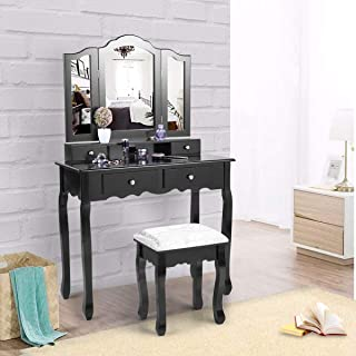 JAXPETY Black 4 Drawers Vanity Makeup Table Set, Dressing Table Stool Tri Folding Mirror with Cushioned Stool Modern Contemporary