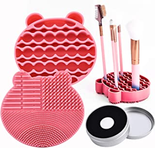Silicon Makeup Brush Cleaning Mat with Brushes Drying Holder Portable Bear Shaped Cosmetic Brush Cleaner Pad+ Makeup Brush Dry Cleaned Quick Color Removal Sponge Scrubber Tool (Pink)