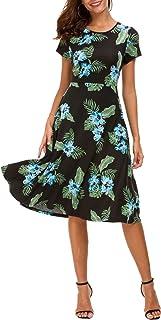 Vestido Estampado Floral de Mujer Cintura Alta Vestido a Media Pierna Manga Corta
