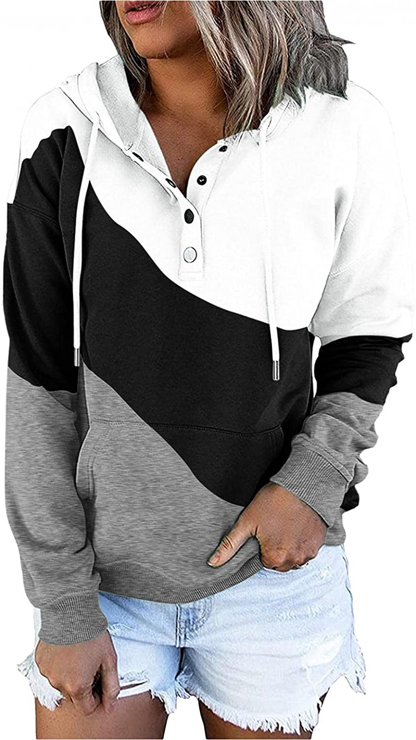 felwors Hoodies for Women, Womens Pullover Hoodies Button Down Long Sleeve Casual Basic Sweatshirt Loose Plus Size Coat