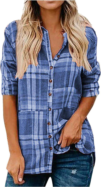 WUAI-Women Long Sleeve V-Neck Stripes Shirts Casual Loose Classic Plaid Button Down Shirt Tops Blouse