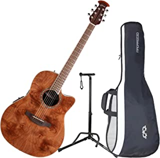 Ovation CS24P-NBM Celebrity Plus Mid-Depth Nutmeg Burled Maple Acoustic/Electric Guitar with Gig Bag and Stand