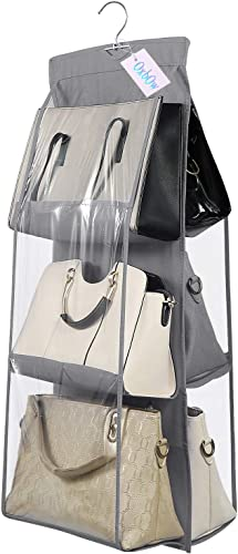 OxbOw 6 Pocket Foldable Hanging Purse Handbag Organizer for Storage Ladies Women Large Clear Hand Bag Storage Organizer