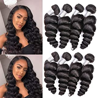Ms Sunlight Brazilian Loose Wave 4 Bundles 18 20 22 24 inch Remy Human Hair 10A