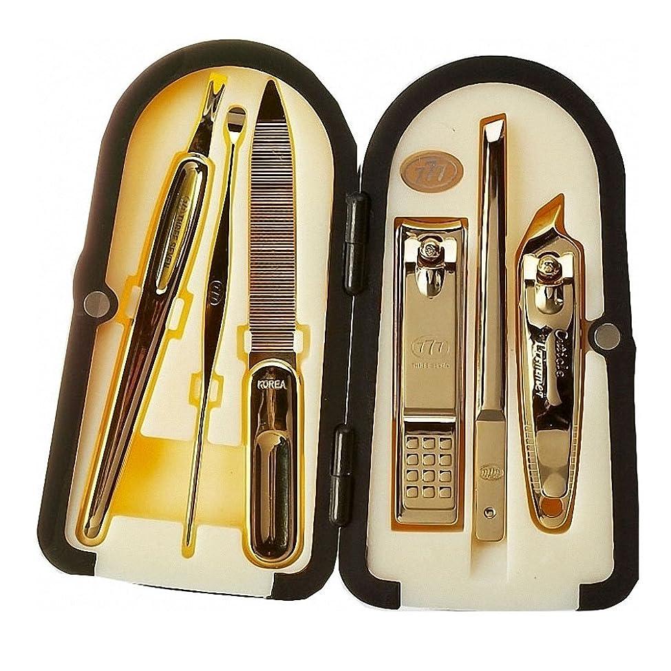 混合したマウス代替【 三セブン】THREE SEVEN TS-4000 Manicure Set with 4 Color Case Choice 三セブンTS-4000マニキュアセット、4カラーボックス選択 (7.Gold_Black) [並行輸入品]
