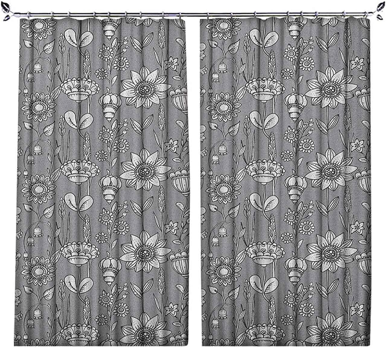 Pinch Pleat Textured Floral Kansas City Outlet ☆ Free Shipping Mall Flower Greyscale Fantastic Curtains