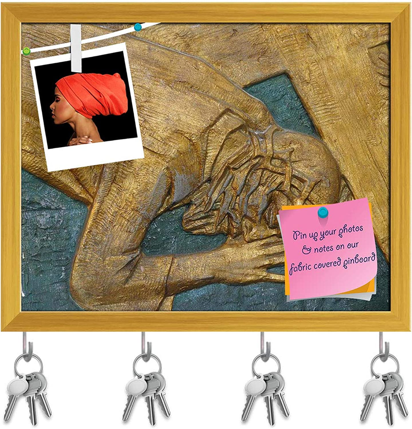 Artzfolio 7Th Station of Cross Jesus Falls The Second Time D2 Key Holder Hooks   Notice Pin Board   golden Frame 7.4 X 6Inch