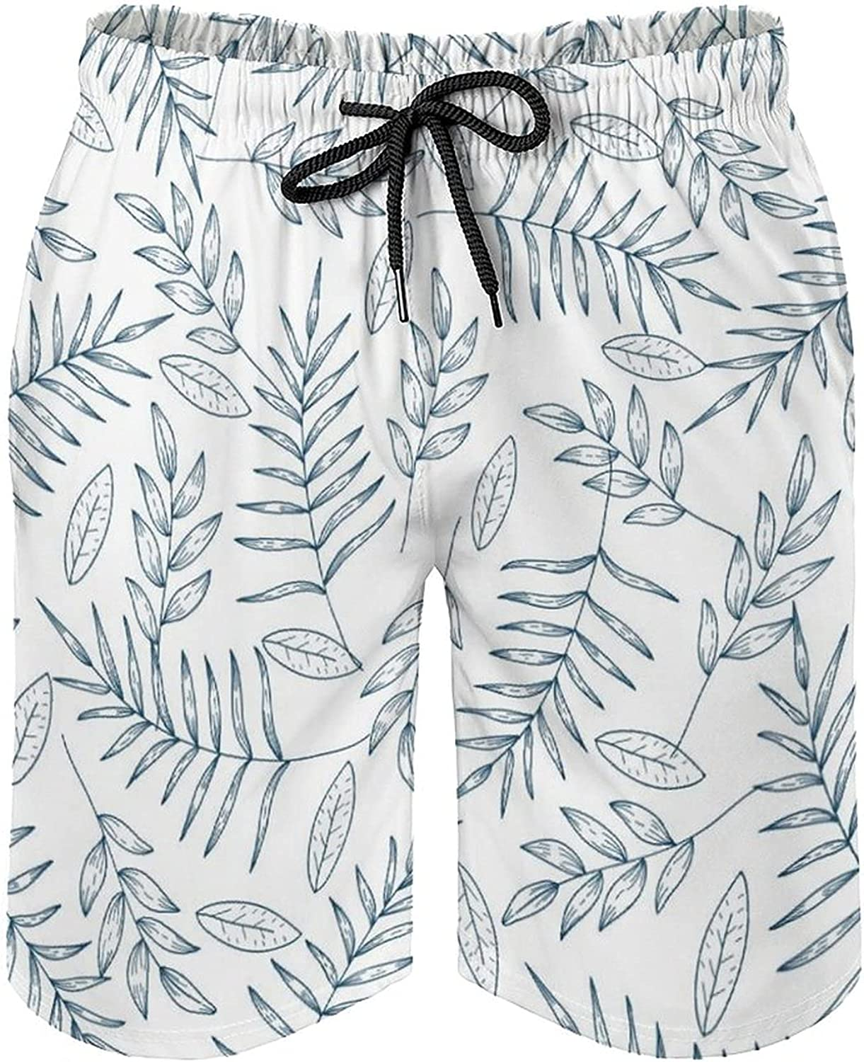 Men's Casual Classic Fit Drawstring Summer Board Shorts with Pockets Tropical Plants