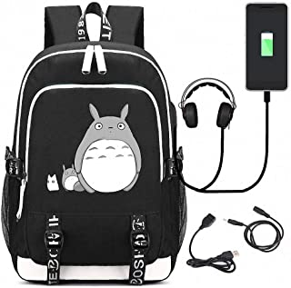 Anime Backpack, My Neighbor Totoro Backpack, USB Charging Backpack, with USB Charging Port and Earphone Port, for Teenage Girls Boys