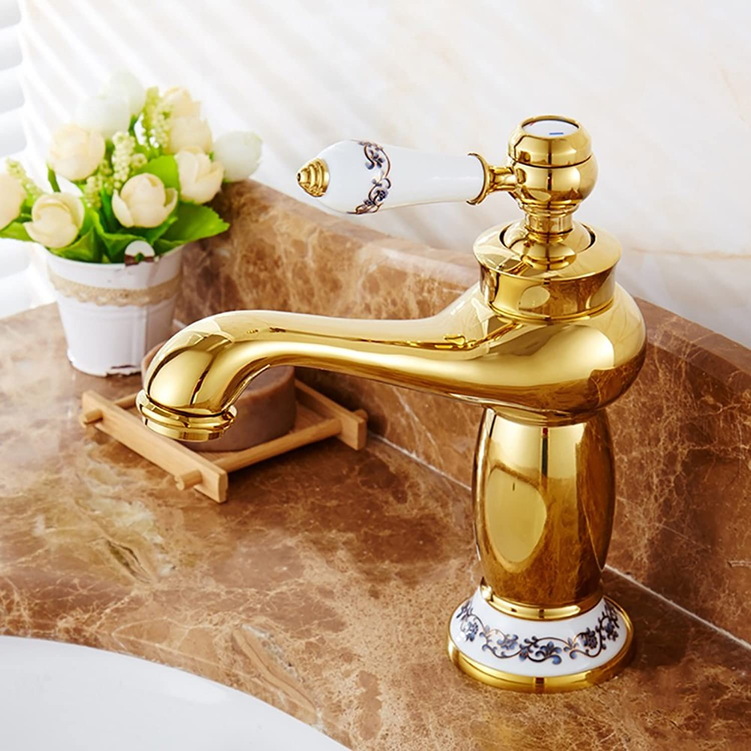 ZJM All Copper Basin Faucet Single Hole Retro Hot And Cold Water Mixer bluee And White Porcelain (color   gold)