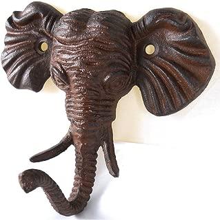 Upper Deck Antiqued Reproduction Cast Iron Elephant Head Single Hook Wall Decor