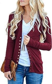 Traleubie Women`s Long Sleeve V-Neck Button Down Knit Open Front Cardigan Sweater