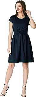 FX Knot Front Cotton Knit Contrast Trim Dress - Customizable Neckline, Sleeve