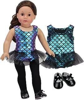 Sophia's 18 Inch Doll Jazz Set Tap Dancer Outfit Iridescent Jazz Leotard w/ Tutu Trim and Black Tap Shoes